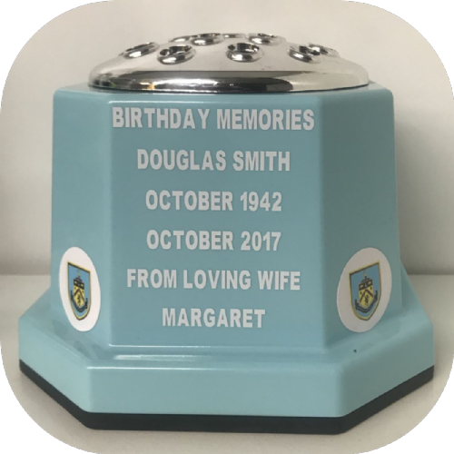 Burnley F. C.  football personalised Grave pot 50p blue